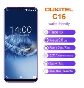 OUKITEL C16 Smartphone 5.71 '' 19: 9 2GB 16GB dello schermo Android 9.0 MT6580P Waterdrop Telefono 5V / 1A 2600mAh impronte Face ID mobile