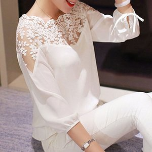 Designer Women Blouse Ladies Girl Women 3\4 Sleeve Lace Hollow Casual Chiffon Blouse Crop Tops L2 Drop Shipping Good Quality