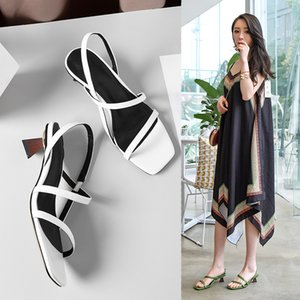 Pop2019 Toed Wind The Fasciola Group Combine Genuine Leather Sandals Woman Special-shaped With Solid Color Square Tide Women's Shoes