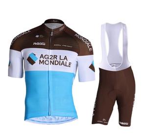 2019 AG2R LA MONDIALE Maillot cyclisme Maillot Ciclismo à manches courtes et une bavette Cuissards du vélo Kits Bracelet BICICLETAS O19121703