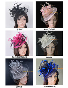 NEW DESIGN High quality elegant sinamay fascinator feather headpiece Kentucky Derby Royal wedding church hat with veiling
