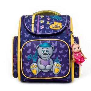Bolsos de escuela de dibujos animados 3D A3-137 delune para niñas púrpura niños de la escuela primaria Ortopédica Mochila mochila escolar Infantil