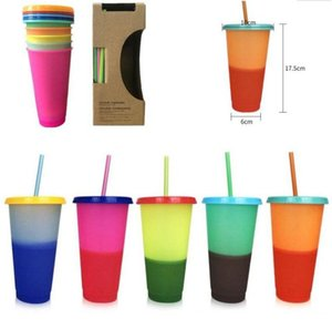 24oz Temperature Color Magic Cup Reusable Magic Coffee Mug Plastic Drinking Tumblers with Lid and Straw DHL