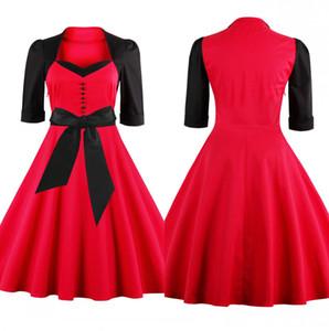Retro 1950 « S femmes Robes coton rouge 1/2 manches longues à volants Casual longueur au genou été robe de soirée pas cher Holiday En stock FS1110