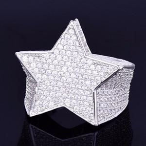 Homens Moda Cobre Ouro Prata Iced Out Star Anel de Alta Qualidade Cz Pedra Forma de Estrela Anel Jóias