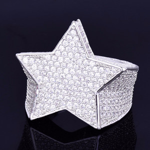 Herrenmode Kupfer Gold Silber Iced Out Stern Ring Hohe Qualität Cz Stein Sternform Ring Schmuck