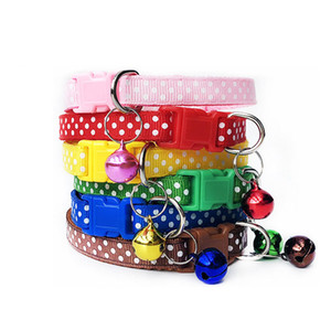 Nylon with Bell Pet Cute Fashion Round Dot Print Dog Cat Puppy Charm Adjustable Lovely Safety Collars 1PC New Buckle