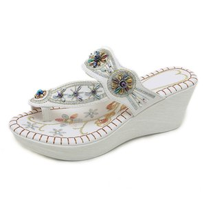 high heels women slides sandy beach slippers Bohemian pearl drill slope embroidery shoes women designers size 11 size10