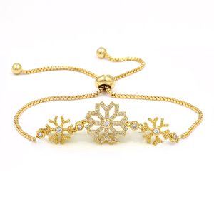 Kupfer Vergoldet Schneeflocke Armband Student Freundinnen Zirkon Schmuck Einstellbar Einfache Zirkon Armband Hot Fashion Armband