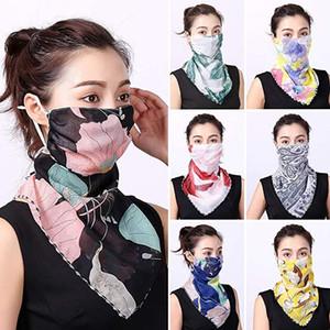 Свободный DHL Мода Цветочный печати ветрозащитный Anti-UV шарф Спорт на открытом воздухе Велоспорт маска для лица Женщины леди лето шейный шеи протектор НОВЫЙ B42F