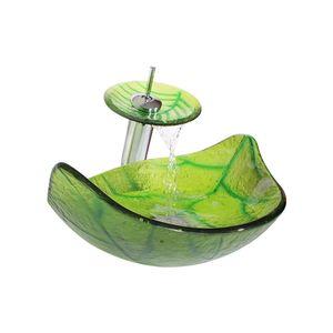 12L Hotel Bathroom Forma Verde Foglie barca temperato lavabo in vetro igienici arte mano Sink controsoffitto Lavandino Set + rubinetto + Drainer