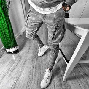Imprimir la tela escocesa de los pantalones de diseño Gentlemans delgada para hombre bolsillos con cremallera Fly mediados de cintura Pantalones hombres Moda casaul Pant