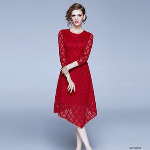 womens designer Festival festive wedding skirt season slim slimming round neck irregular dress womenW2E8 ME8V
