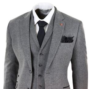 Мужская темно-серая елочка Tweed 3 частей костюмы Peaky Blinders шерстяные костюма шерсть твид костюма куртка жилет брюки пользовательские свадьбы смокинг