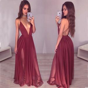 Sexy V Cou Profond Dos Nu Bourgogne Robes De Bal 2019 Bretelles Vin Rouge Fendu Longue Robes De Soirée Pas Cher Occasion Occasion Robe