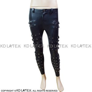 Black Sexy Latex Leggings With Belts And Zippers Rubber Pants Trousers Bottoms for male Plus Size 0057
