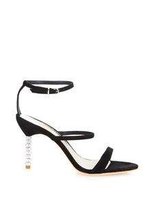 Женская дубленка открытыми пальцами алмазные обувь на высоких каблуках Rhinestone украшения Sophia Webster насосы сандалии обувь 34-42