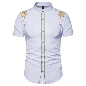 التطريز اللون رجال اللباس قمصان الصلبة طباعة زهري قصير الأكمام الصيف قمم عارضة ملابس الرجال