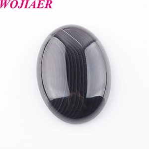 WOJIAER Natural Stripe Agate Gem Stone Beads Oval Cabochon CAB No Hole 22x30x7MM For Making Jewelry DU8101