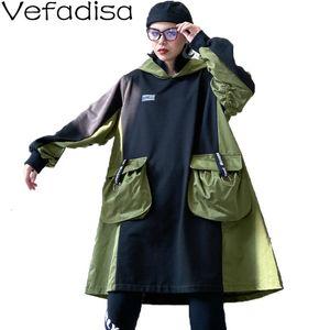 Женские толстовки для толстовки Венадиса с капюшоном платье для толстовки женщины 2021 зимний карманный карманный пэчворк с длинным рукавом пуловеры черный свободный qyf1483