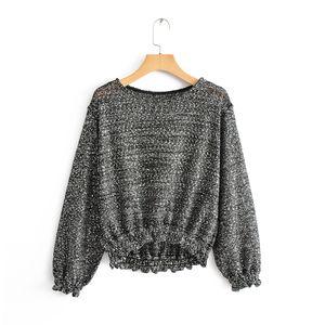 BBWM MULHER Do Vintage Chic Lantejoulas Camisola Streetwear Mulheres O-pescoço Plissado Pullovers Senhoras Ocasionais Malhas Tops