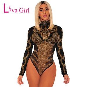 LIVA GIRL Black Sexy сетки Rhinestone Bodysuit Женщины Плюс Размер Ромпер Bodycon Комбинезон легкий костюм с шортами Женщина с длинным рукавом Боди Топы XXL T200618