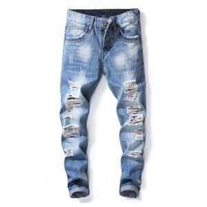 النمط الأمريكي الأوروبي أزياء العلامة التجارية الرجال الأزرق ثقب الجينز الفاخرة الرجال سراويل الجينز ضئيلة سليم قلم رصاص السراويل الجينز الأزرق للرجال