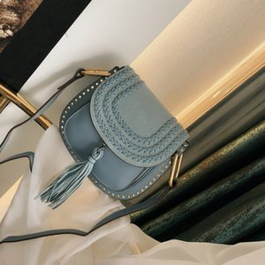 Nuovi ristabilente i sensi antichi della nappa scamosciato borse borsa da sella Portafogli da donna in pelle intrecciata singola spalla borsa crossbody sacchetto delle donne dei rivetti