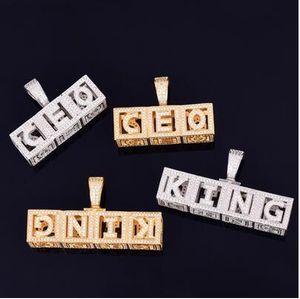 Personnalisable Nom Collier Hip Hop Bijoux Ice Out carrés personnels Lettre Pendentif Rue Rock hommes Collier Lettre dés avec la chaîne de corde