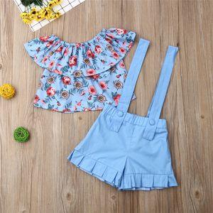Moda Bebés Meninas Outfits Curto Tops + Correias Shorts 2 peças de vestuário Define 2020 Verão Gril Floral Shorts Alças Tops Treino E22603