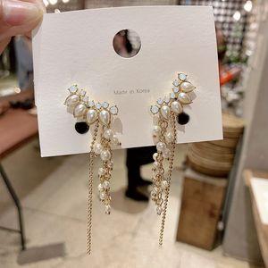 2019 Новое Прибытие Кристалл Модные Геометрические Женщины Серьги Мотаться Перл Бахромой Серьги Роскошные Дизайнерские Ювелирные Изделия Для Женщин