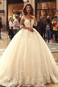 Romantic Lace Ball Gown Wedding Dresses 2019 Sheer Long Sleeves Lace Appliques A Line Tulle Wedding Bridal Gowns