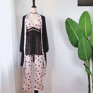 Para julio en SONG resorte de la mujer pijamas Set 3 Piezas de satén de imitación de seda pijamas