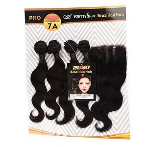 PRETTY HAIR Brazilian Body Wave Bundles with Closure Body Wave Human Hair Bundles Remy Human Hair 4 Bundles with Three Part Lace Closure