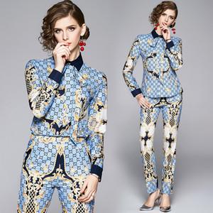 2020 Klasik Rahat kadın İki Parçalı Pantolon Zarif Baskılı Uzun Kollu Yay Gömlek Ve Uzun Pantolon 2 Adet Set Pist Bayanlar Tasarımcı Iki Parçalı