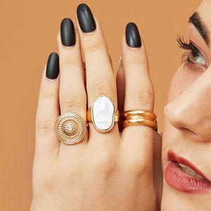 Chapado en oro 3 unids / set punk vintage geométrico anillos de metal de perla de cristal geométrico nudillo dedo anillos grandes para mujer joyería