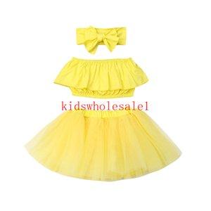 3PCS criança crianças Baby Girl Roupas Roupas Define Amarelo Manga Vest Tops + saia tutu + Headband Set