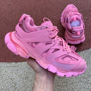 2020 track paris Trainers Pink Red For Women 3M Reflective Paris Fashion Shoes Womens Triple S Clunky Sneaker Trek Casual Sneakers