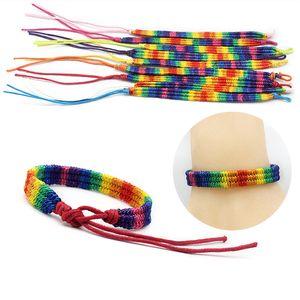 Gay & Lesbian LGBT Pride Braided Macrame Bracelet 3 Colors Rainbow Wristband Handmade Bracelets for Men Women Friendship Jewelry Gift B117F
