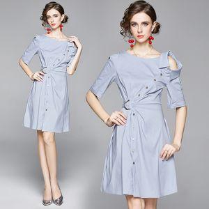 Girl Dress Short Sleeve Strapless Women Summer Shirt Dress Fashion Temperament Lady Dress
