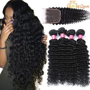 Brasilianische tiefe Welle mit Schließungs-Haar-Bündeln mit Bündeln des Schließungs-4x4 3 brasilianisches reines Haar mit Schließungs-unverarbeiteten Menschenhaar-Webarten