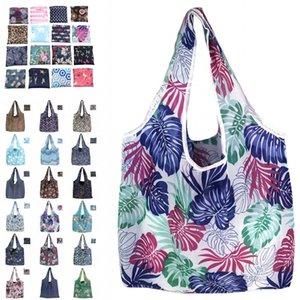 Poliéster dobrável Shopping Bag Grocery Supermercado Shopping Bag Grande Capacidade Início Eco Tote Bolsa reutilizável saco de armazenamento