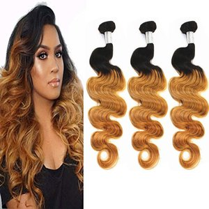 H H A Body Wave Ombre Bundles Remy Hair Extensions Peruvian Brazilian Indian 100 %Virgin Human Hair Weaves Color T1b  27 8 -28inch