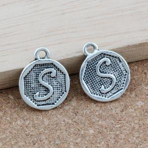 "100 adet / grup Çift taraflı ""S"" Alfabe İlk alaşım Charms Kolye Takı DIY Antik Gümüş 14.8x28.2 MM A-400"