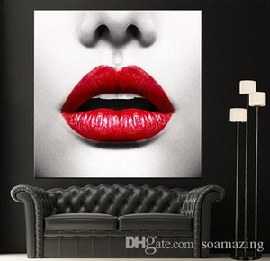 Yüksek Kaliteli Kırmızı Dudaklar Yüz Modern Kanvas Ana Güzel Wall Art Oil Dekor Tuval, Çoklu Boyutları Ab229 Boyama Siyah Beyaz Boyama