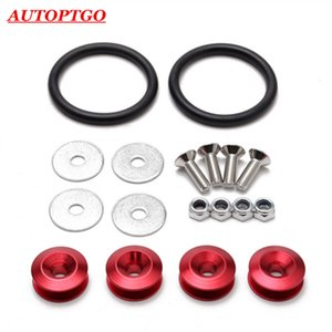 4x Red Universal Car Jdm Bumper Quick Release Fastener Trunk Latch Lid Quik Released Fender Washers Kit