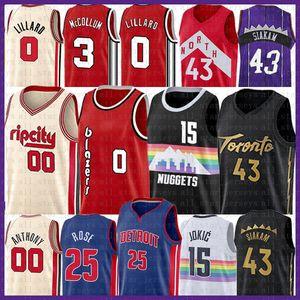 Nikola Carmelo Anthony Pascal 00 43 15 Siakam NCAA Baloncesto Jersey Jokic Derrick Rose 25 Damian Lillard 0 3 CJ McCollum Jamal 27 Murray