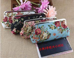 Portamonete Vintage Rose Lungo 6 Pollici Tela Floreale Portafoglio Chiusura a scatto Portafoglio Portachiavi Tasca Hasp Pochette Borsa Borsa Denaro Borsa 150 pzK5519