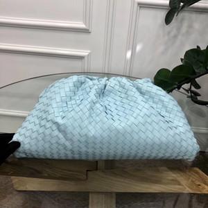 New Rindsleder gewebt Wolke Tasche Himmelblau aus echtem Leder plissierten Beutel 2pcs Schulter geschlungen Knödel Clutch-Taschen Straße totem Einkaufen