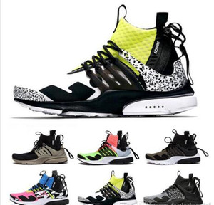 Brand ACRONYM X Prestos Mid V2 Runner Men Running Shoes Racer Pink Cool Grey Darts Street Sport Sneakers Camouflage Graffiti Boots